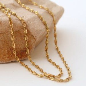NEW 18K Gold Plated Braided Twisted Chain Necklace